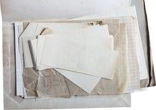 Oud die document op wit wordt geïsoleerd stock foto