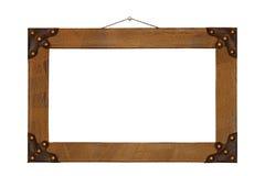 Oud die het schilderen kader met leer wordt gebeëindigd Royalty-vrije Stock Afbeelding