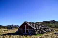 Oud die huis van rotsen wordt gemaakt Stock Foto