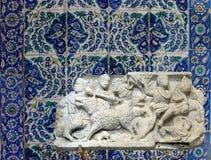 Oud die Roman beeldhouwwerk van een jacht in Avignon wordt gevonden royalty-vrije stock foto's