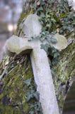 Oud die steenkruis met klimop en mos wordt overwoekerd Royalty-vrije Stock Foto's