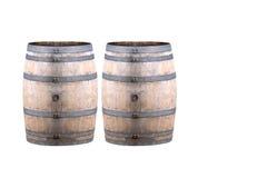 Oud die Wijnvat op Witte Achtergrond wordt geïsoleerd Stock Fotografie