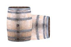 Oud die Wijnvat op Witte Achtergrond wordt geïsoleerd Royalty-vrije Stock Afbeelding