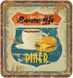 Oud diner van Route 66 teken Stock Fotografie