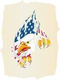 Oud document, adelaar en Amerikaanse vlag Stock Afbeeldingen
