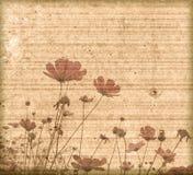 Oud document bloemframe als achtergrond Royalty-vrije Stock Foto's