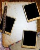 Oud document en fotokader stock afbeelding