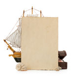 Oud document en overzees concept Royalty-vrije Stock Fotografie