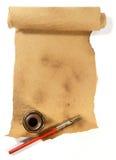 Oud document, Inktpot, pen met weg stock afbeelding