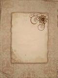 Oud document met bloem Royalty-vrije Stock Afbeelding