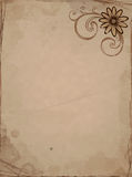 Oud document met bloem Royalty-vrije Stock Foto's