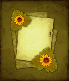 Oud document met bloemen Royalty-vrije Stock Afbeeldingen