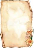 Oud document met bloemen - waterverf Royalty-vrije Stock Afbeeldingen
