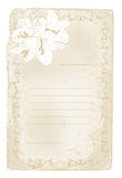 Oud document met bloemengrens Stock Afbeeldingen