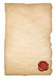 Oud document met geïsoleerder wasverbinding Het knippen van weg is inbegrepen Stock Foto's