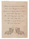 Oud Document met Met de hand geschreven Tekst en Biermokken Stock Afbeeldingen