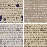 Oud Document met Met de hand geschreven Teksten SeamlessBackground Stock Afbeeldingen