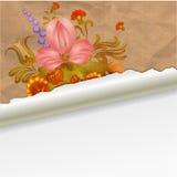 Oud document met uitstekende bloemen Stock Foto's