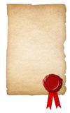 Oud document met wasverbinding en geïsoleerd lint royalty-vrije stock afbeelding