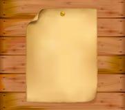 Oud document op een houten muur. Vector. Royalty-vrije Stock Afbeelding