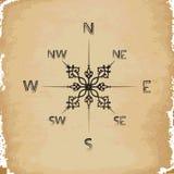 Oud document op kompas Royalty-vrije Stock Afbeelding