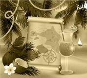 Oud document op tropische achtergrond Royalty-vrije Stock Afbeelding