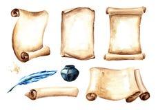 Oud document rol of perkament met pen en inktpotreeks Waterverfhand getrokken die illustratie op witte achtergrond wordt geïsolee vector illustratie