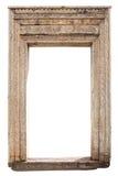 Oud doorstaan gesneden houten deurkader Stock Foto