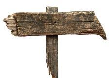 Oud doorstaan houten die teken op een witte achtergrond wordt geïsoleerd Royalty-vrije Stock Foto's