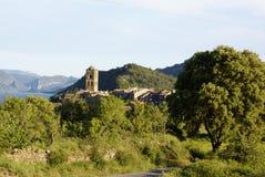 Oud dorp van ainsa, de Pyreneeën Stock Foto's