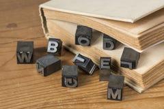 Oud druktype van de loodinkt van een bedrijf van de boekdruk Stock Afbeelding