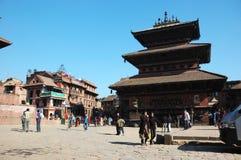 Oud Durbar Vierkant met pagoden, Katmandu, Nepal Royalty-vrije Stock Foto's