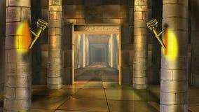 Oud Egyptisch tempelbinnenland Beeld 4 vector illustratie