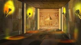 Oud Egyptisch tempelbinnenland Beeld 1 vector illustratie