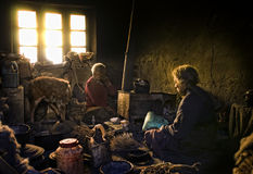 Oud en armen van Korzok-dorp, Ladakh Royalty-vrije Stock Foto's