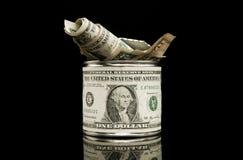 Oud en gebruikt geïsoleerdu dollartin. Stock Fotografie