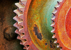 Oud en roestig pignontoestel van mechanische machine Royalty-vrije Stock Afbeeldingen