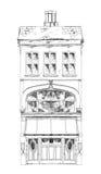 Oud Engels rijtjeshuis met kleine winkel of zaken op benedenverdieping Bandstraat, Londen schets Stock Afbeeldingen