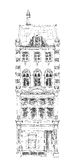 Oud Engels rijtjeshuis met kleine winkel of zaken op benedenverdieping Bandstraat, Londen schets Stock Afbeelding