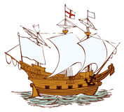 Oud Engels schip royalty-vrije illustratie