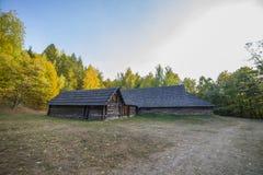 Oud etnisch Oekraïens dorp stock afbeeldingen