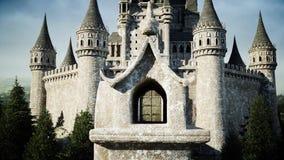 Oud fairytalekasteel op de heuvel Lucht Mening het 3d teruggeven Royalty-vrije Stock Afbeelding