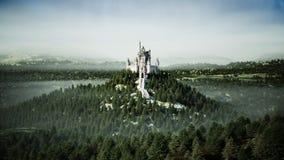 Oud fairytalekasteel op de heuvel Lucht Mening het 3d teruggeven Royalty-vrije Stock Foto