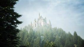 Oud fairytalekasteel op de heuvel Lucht Mening het 3d teruggeven Stock Fotografie