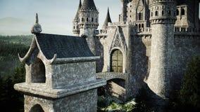 Oud fairytalekasteel op de heuvel Lucht Mening het 3d teruggeven Royalty-vrije Stock Foto's