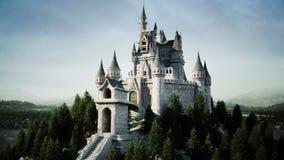 Oud fairytalekasteel op de heuvel Lucht Mening het 3d teruggeven Stock Foto's