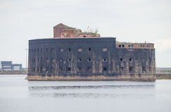 Oud fort Alexsandr I in Kronstadt Rusland Stock Afbeelding