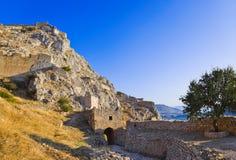 Oud fort in Corinth, Griekenland Stock Foto