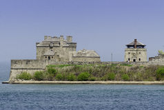 Oud fort Niagara in New York Stock Foto's