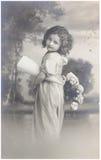 Oud fotoportret van jonge vrouw Royalty-vrije Stock Afbeeldingen